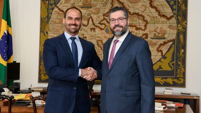 Eduardo Bolsonaro e Ernesto Araújo