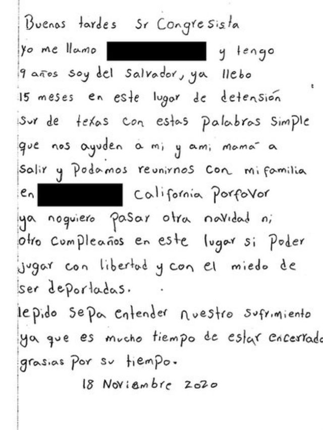 Una carta que Luisa envió a un congresista.