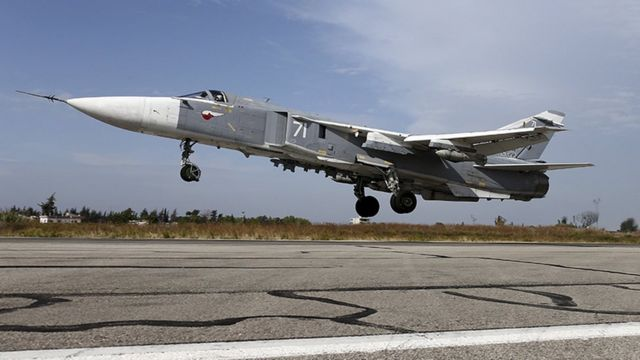 File photo from Russia's Defence Ministry shows a Sukhoi Su-24 fighter jet taking off from the Hmeymim air base near Latakia
