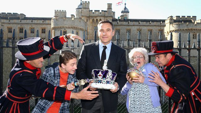 David Walliams with the cast of the Gangsta Granny theatre production.