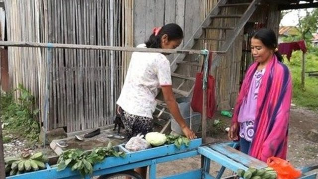 Indotang (kanan) sehari-hari berkeliling dari pulau ke pulau, menjajakan sayuran kepada warga di Kabupaten Pangkep, Sulawesi Selatan