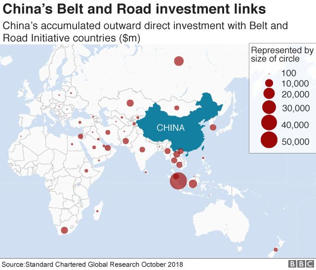 Map showing Chinese investment as part of the Belt and Road initiative