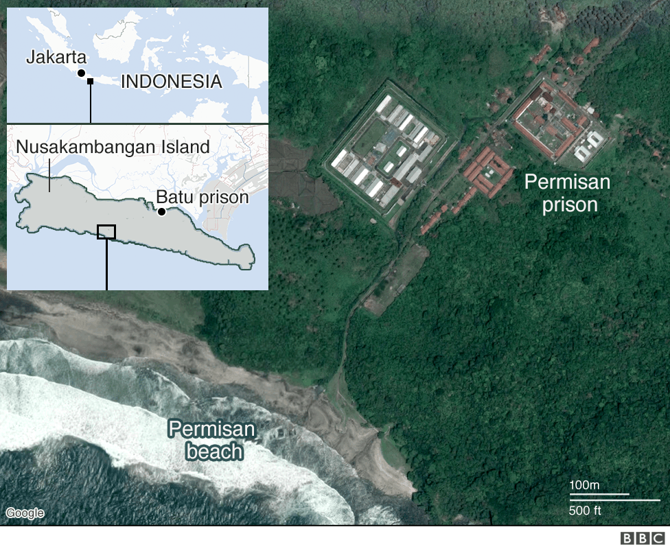 Map of Batu prison and Permisan beach
