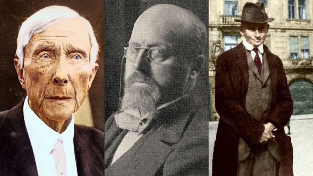 John D. Rockefeller (izq), Henry James (centro) y Franz Kafka (der)