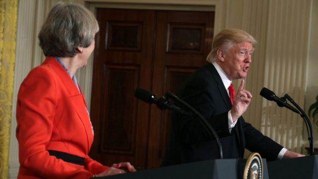 ترامب وماي في مؤتمر صحفي بعد مباحثات البيت الأبيض