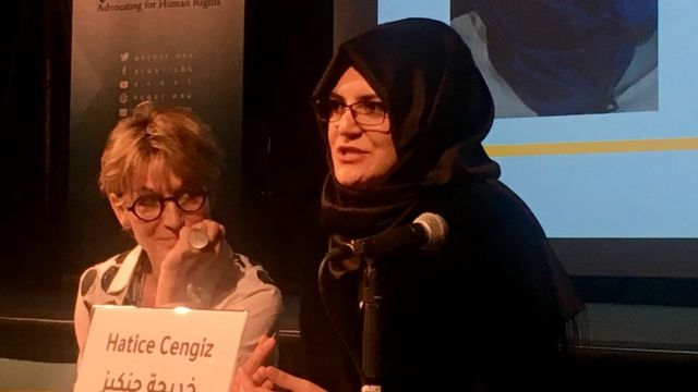 Hatice Cengiz at a human rights conference in London
