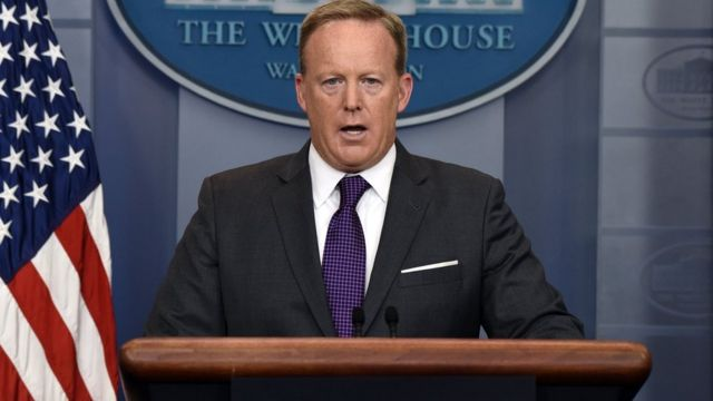 White House Press Secretary Sean Spicer briefs members of the media during a daily briefing at the White House