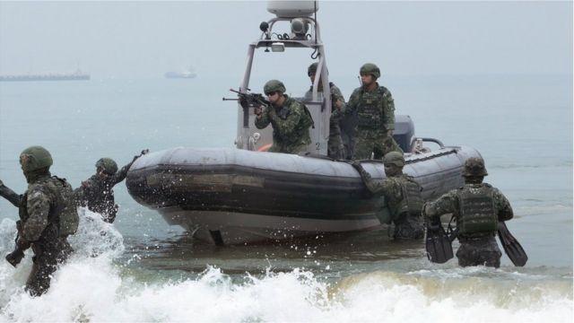Taiwan Marines Special Force during a anti-invasion drill in Kinmen island on May 25, 2019 in Kinmen, Taiwan.