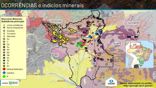 Mapa de ouro em Roraima