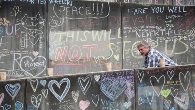 Portland residents have been paying tribute at a makeshift memorial