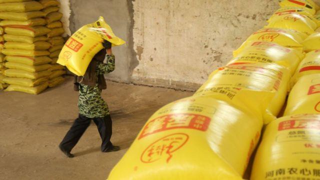 Homem carregando saco de fertilizante em galpão