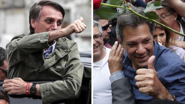 Bolsonaro e Haddad ao votar, neste domingo