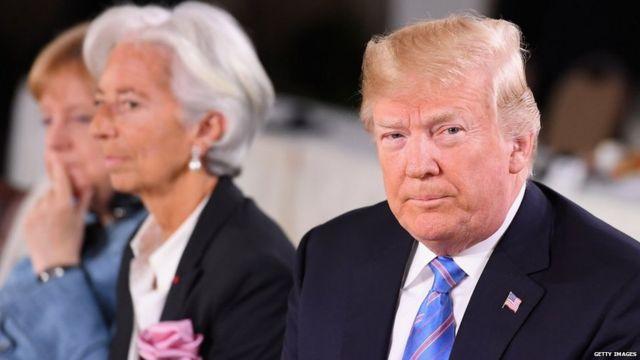 (from left) German Chancellor Angela Merkel, IMF chief Christine Lagarde and US President Donald Trump