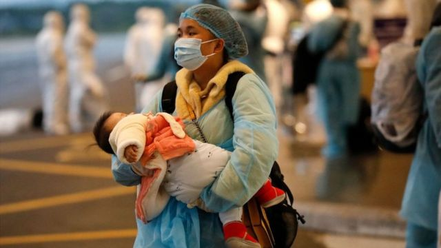 A Vietnamese woman repatriated from Wuhan, where the SARS-like novel coronavirus originated.