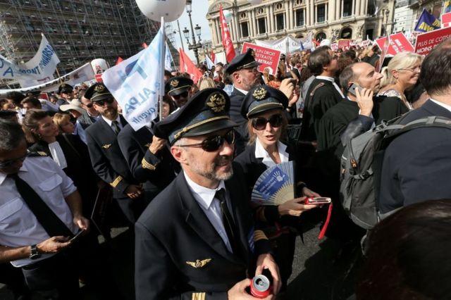 Pilotos en huelga