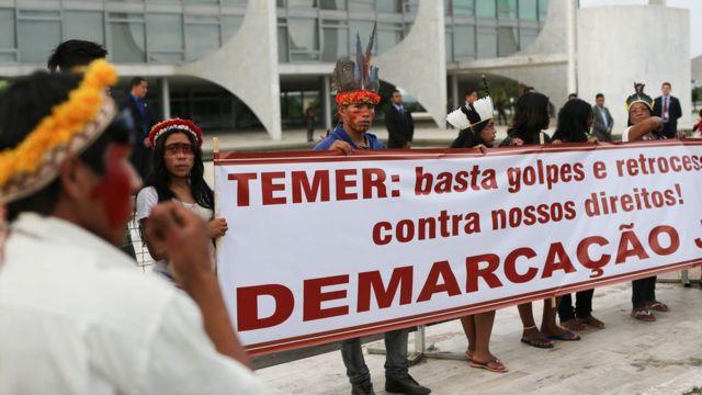Protesto de indígenas em Brasília