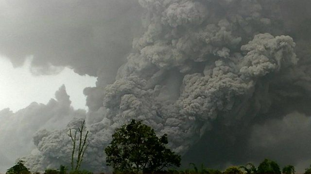 Ash coming from the volcano