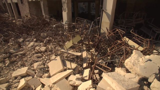 Remains of a school in west Aleppo