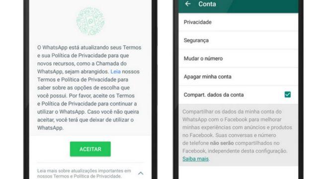 Mensagens que aparecem na tela usuário do WhatsApp