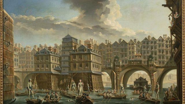 Lancheros entre los puentes de Notre-Dame y au Change, París, en 1756, por Nicolas-Jean-Baptiste Raguenet (1715-1793).