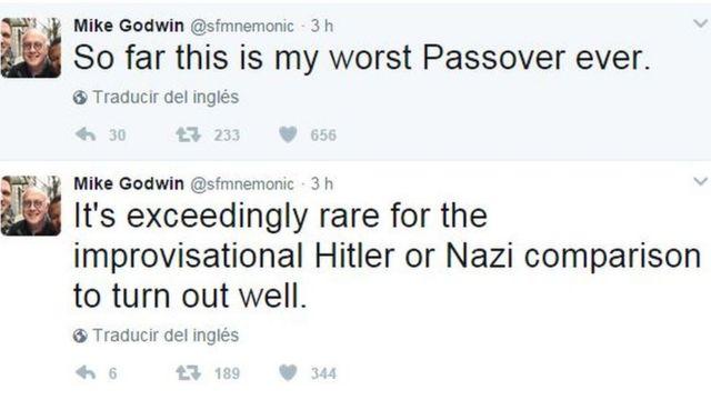 """""""Hasta la fecha, estas están siendo mis peores Pascuas"""", tuiteó Godwin, quien recordó en otro posteo: """"Es extremadamente raro que la improvisada comparación con Hitler o los nazis resulte bien""""."""