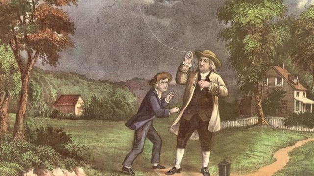 Ilustração de Benjamin Franklin empinando uma pipa