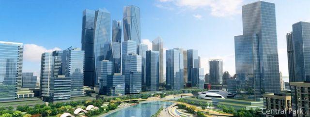 Hình ảnh máy tính về một thành phố cảnh mới