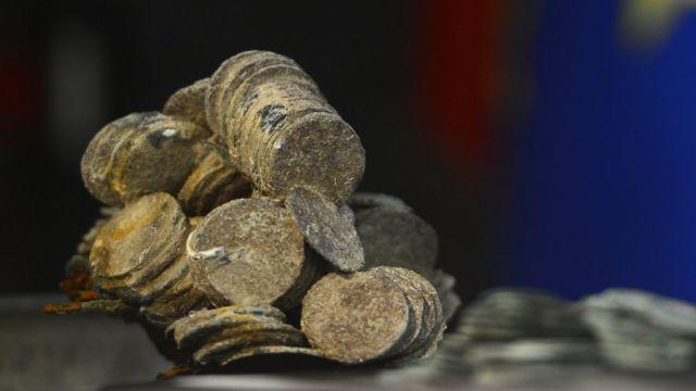Monedas rescatadas del galeón Nuestra Señora de las Mercedes.