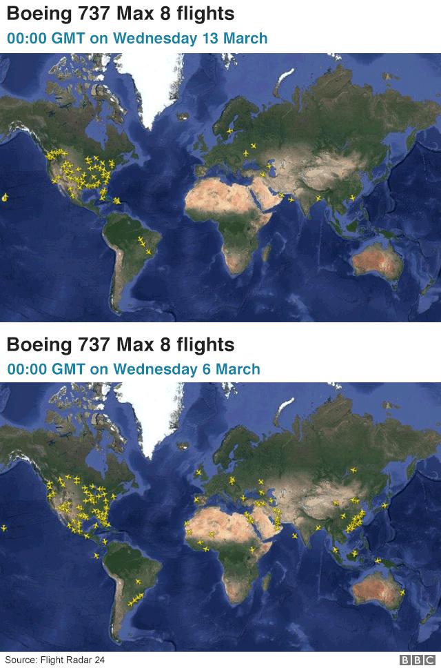 737 Max flight radar map