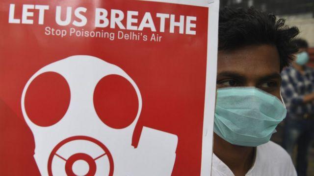 Protesto contra poluição na Índia