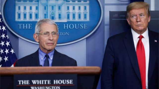 Dr Anthony Fauci and President Donald Trump