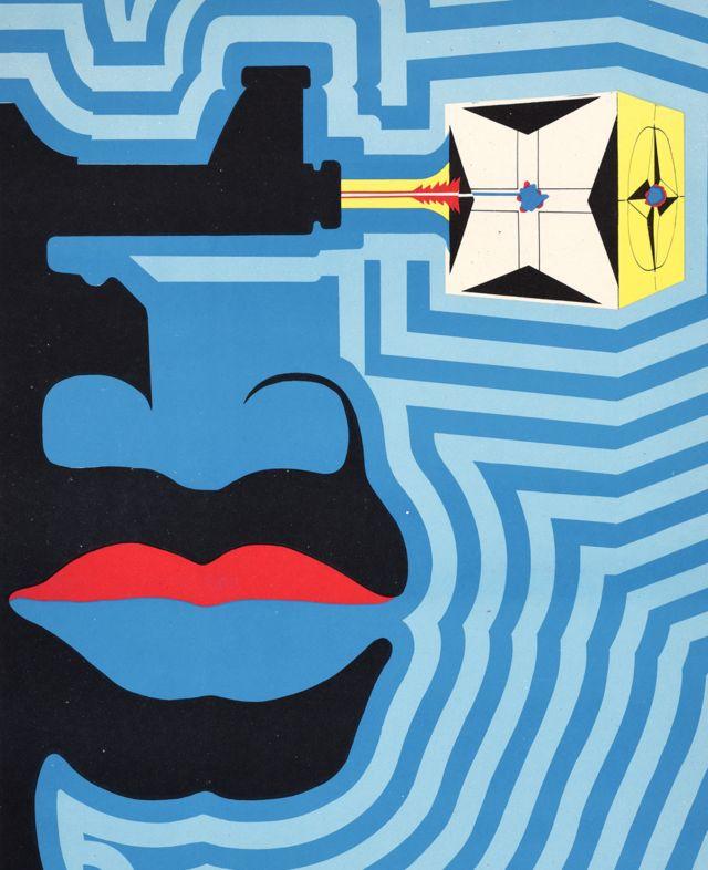 Un Ospaaal intitulé Journée de solidarité avec l'Angola, 1972, avec une affiche et un visage à motifs.