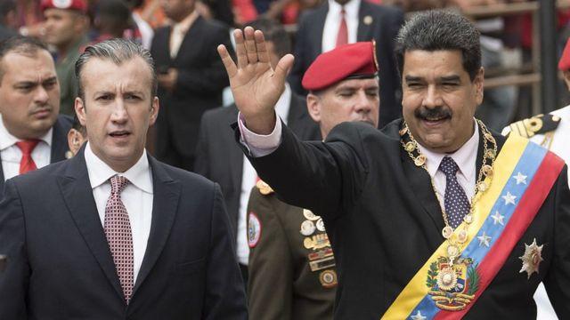 Tareck El Aissami y Nicolás Maduro.