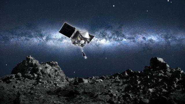 Ilustración: Osiris-Rex acercándose a la superficie del asteroide Bennu.