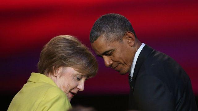 メルケル独首相(左)とオバマ米大統領