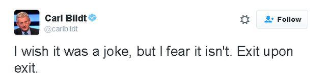"""""""Твиттер"""": Карл Билдт - """"хотелось бы верить в то, что новость о назначении Джонсона - лишь шутка"""""""