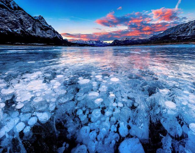 Lago Abraham en Alberta, Canada