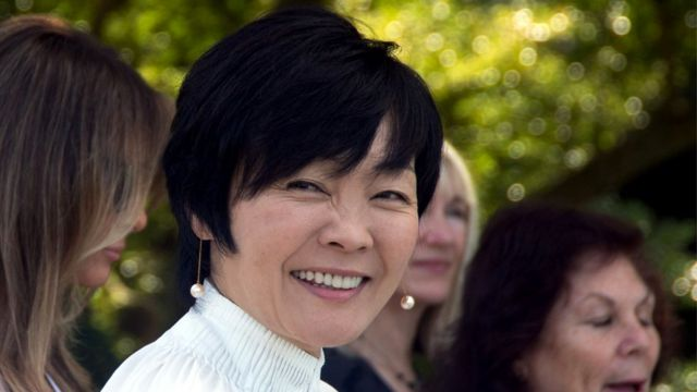 安倍昭恵夫人は今年2月にトランプ米大統領と初めて会った