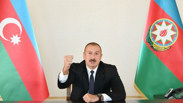 Alocución del presidente de Azerbaiyán, Ilham Aliyev.