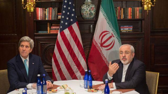 ظریف و کری وزیران خارجه ایران و آمریکا