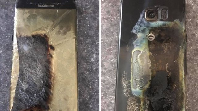 जली हुई बैटरियों वाला सैमसंग का हैंडसेट.