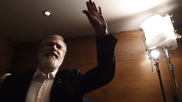 Sinn Féin's Gerry Adams waves to supporters after his elected