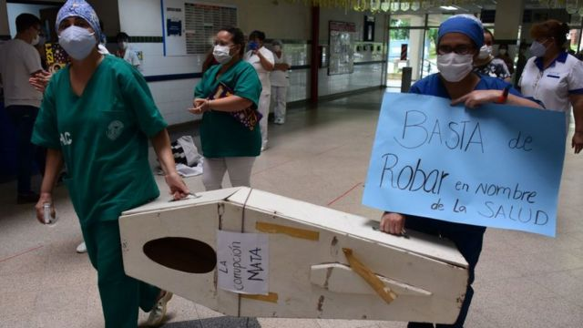 Protest by medical personnel against the management of the pandemic in Paraguay.