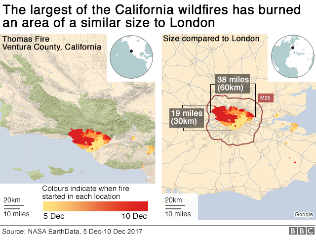 Map showing the size of the area burned by California wildfires compared to area of London