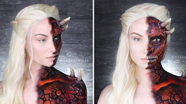 YouTuber Madeyelook paints transforms herself into Daenerys Targaryen from Game of Thrones painting half her face as her red dragon Drogon and the other half as Dany