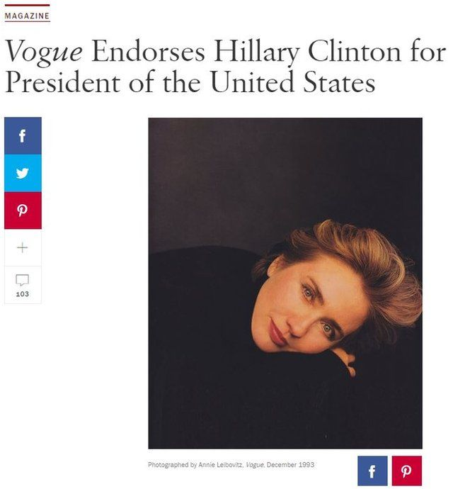 A screengrab from Vogue.com showing how the magazine endorsed Hillary Clinton