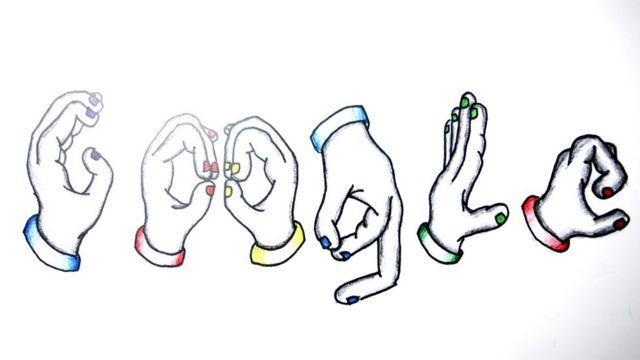 Dibujos de manos haciendo las letras de Google