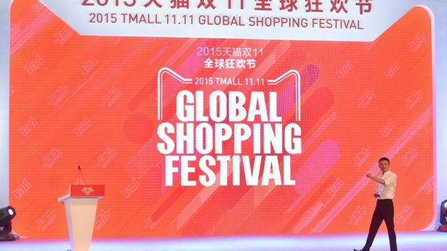 Jack Ma, chairman of Alibaba, speaks during the launching ceremony of the Alibaba's Tmall 11.11 Global Shopping Festival