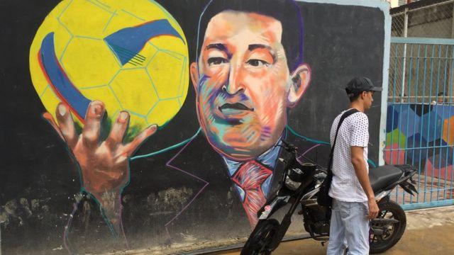 Un mural de Hugo Chávez.