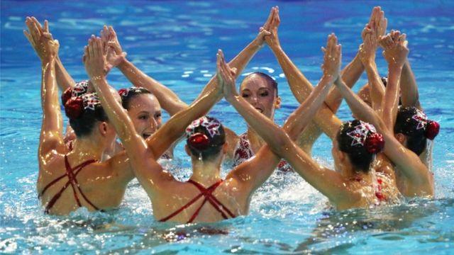 El equipo canadiense durante la clasificación olímpica en junio pasado en Barcelona, España.